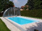 Single-side walkable swimming pool cover Optima, open