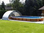 5-piece swimming pool cover (open) with separated front wall